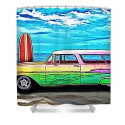57 Chevy Nomad Wagon Best Part Of Waking Up Shower Curtain
