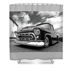 57 Stepside Chevy In Black And White Shower Curtain