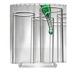 Test Tubes In Science Research Lab Shower Curtain by Olivier Le Queinec