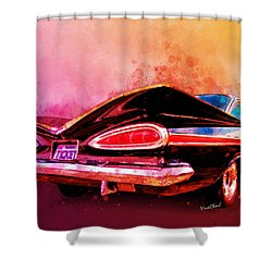 59 Chevy Ticket To Ride Watercolour Shower Curtain