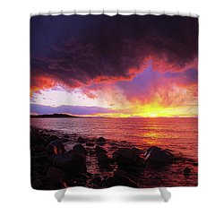 Shower Curtain featuring the photograph Antelope Island Sunset by Norman Hall