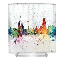 Barcelona Spain Skyline Shower Curtain by Michael Tompsett