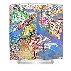 Boston Massachusetts Street Map Shower Curtain