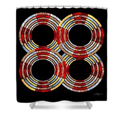 6 Concentric Rings X 4 Shower Curtain