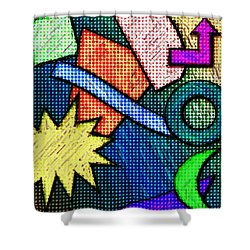 Funky Fanfare Shower Curtain by Kyle West