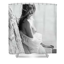 Girl In White Dress Shower Curtain