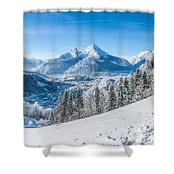 Snowy Landscape In The Alps Shower Curtain