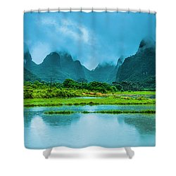 Karst Rural Scenery In Raining Shower Curtain
