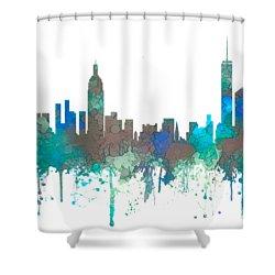 Shower Curtain featuring the digital art New York Ny Skyline by Marlene Watson