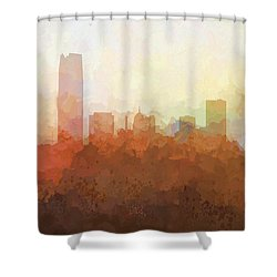 Shower Curtain featuring the digital art Oklahoma City Oklahoma Skyline by Marlene Watson