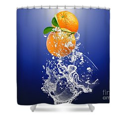 Shower Curtain featuring the mixed media Orange Splash by Marvin Blaine