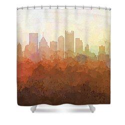 Shower Curtain featuring the digital art Pittsburgh Pennsylvania Skyline by Marlene Watson