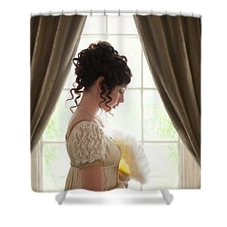 Regency Woman At The Window Shower Curtain by Lee Avison