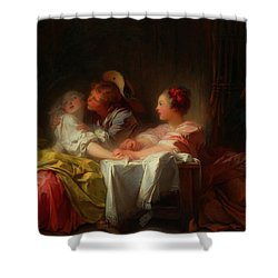Shower Curtain featuring the painting The Stolen Kiss by Jean-Honore Fragonard