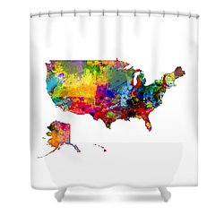 United States Watercolor Map Shower Curtain