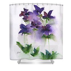6 Violets Abstract Shower Curtain by Frank Bright