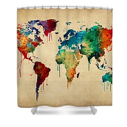Globe shower curtains fine art america watercolor map of the world map shower curtain gumiabroncs Images
