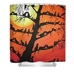 60 Cats In The Love Tree Shower Curtain by Jeffrey Koss