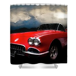 60 Corvette Roadster In Red Shower Curtain