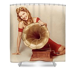 60s Pin Up Girl With Vintage Record Phonograph Shower Curtain by Jorgo Photography - Wall Art Gallery