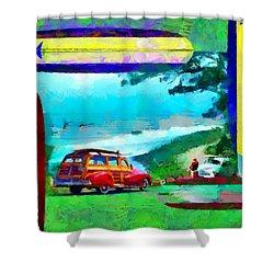60's Surfing Shower Curtain