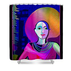 646 - Elegant Lady Pink And Blue 2017 Shower Curtain