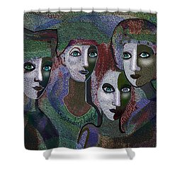 Shower Curtain featuring the digital art 649 - Gauntly Ladies by Irmgard Schoendorf Welch