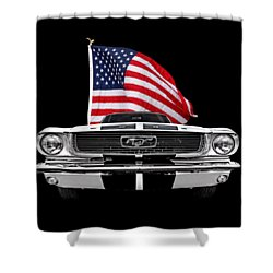 66 Mustang With U.s. Flag On Black Shower Curtain by Gill Billington