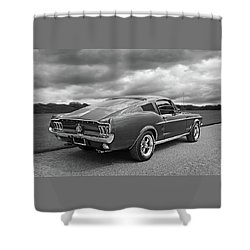 67 Fastback Mustang In Black And White Shower Curtain