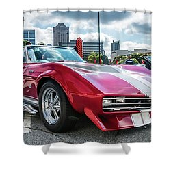 Shower Curtain featuring the photograph 67 Mako Shark Corvette Stingray by Michael Sussman