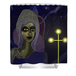 Shower Curtain featuring the digital art 673 - Young Lady With Cross by Irmgard Schoendorf Welch
