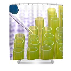 Shower Curtain featuring the photograph Laboratory Experiment In Science Research Lab by Olivier Le Queinec