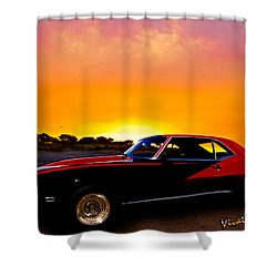 69 Camaro Up At Rocky Ridge For Sunset Shower Curtain