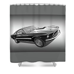 69 Mach1 In Black And White Shower Curtain
