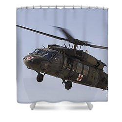 A Uh-60 Blackhawk Medivac Helicopter Shower Curtain by Terry Moore