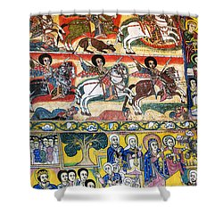Ancient Orthodox Church Interior Painted Walls In Gondar Ethiopi Shower Curtain