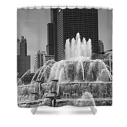 Chicago Skyline And Buckingham Fountain Shower Curtain by Frank Romeo