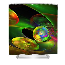 Computer Generated Planet Sphere Abstract Fractal Flame Modern Art Shower Curtain by Keith Webber Jr