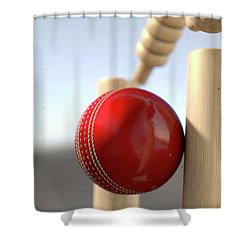 Cricket Ball Hitting Wickets Shower Curtain by Allan Swart
