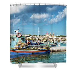 Marsaxlokk Harbour And Traditional Mediterranean Fishing Boats I Shower Curtain