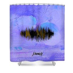 Namaste Spoken Soundwave Shower Curtain by Marvin Blaine