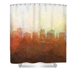 Shower Curtain featuring the digital art Orlando Florida Skyline by Marlene Watson