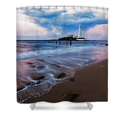 Saint Mary's Lighthouse At Whitley Bay Shower Curtain by Ian Middleton