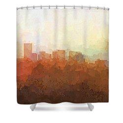Shower Curtain featuring the digital art Salem Oregon Skyline by Marlene Watson