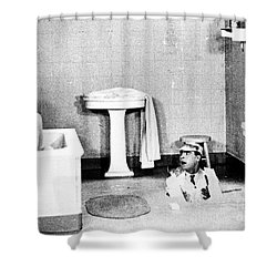 Silent Still: Bathing Shower Curtain by Granger