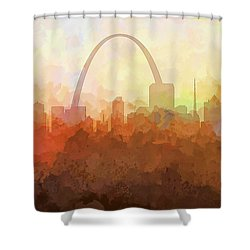 Shower Curtain featuring the digital art St Louis Missouri Skyline by Marlene Watson
