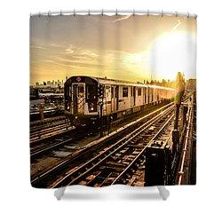7 Train Sunset Shower Curtain