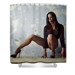 Waiting For.. Shower Curtain by Shlomo Zangilevitch