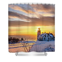 Shower Curtain featuring the photograph West Quoddy Head Lighthouse by Trace Kittrell