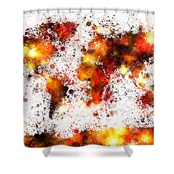 World Map Paint Splashes Shower Curtain by Michael Tompsett